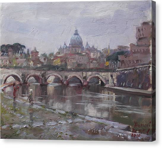 City Landscape Canvas Print - San Pietro In A Rainy Day Rome by Ylli Haruni