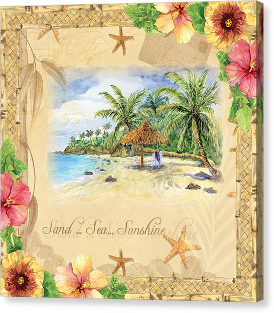 Florida House Canvas Print - Sand Sea Sunshine On Tropical Beach Shores by Audrey Jeanne Roberts