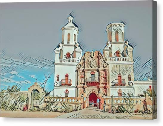 Canvas Print featuring the photograph San Xavier Del Bac Remix One by Dan McManus
