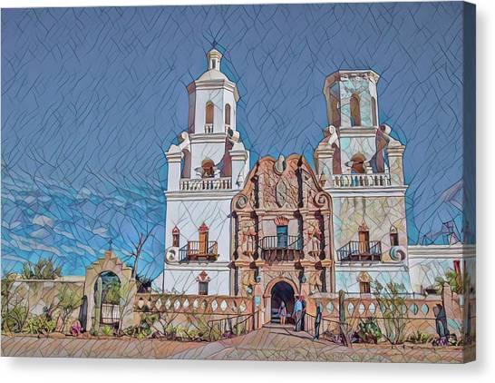 Canvas Print featuring the photograph San Xavier Del Bac Remix Two by Dan McManus