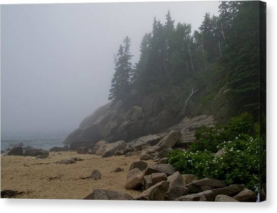 Sand Beach In A Fog Canvas Print