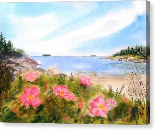 Sand Beach Roses Canvas Print