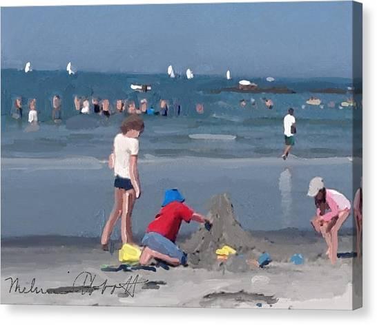 Sand Castle And Sailboats At Wingaersheek Beach Canvas Print