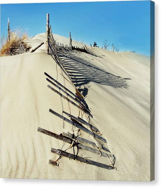 Sand Dune Fences And Shadows Canvas Print