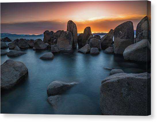 Sand Harbor Sunset Canvas Print