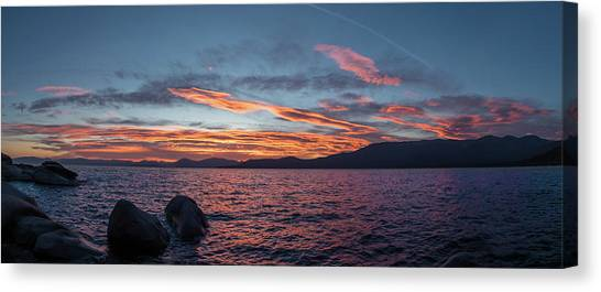 Sand Harbor Sunset Pano2 Canvas Print
