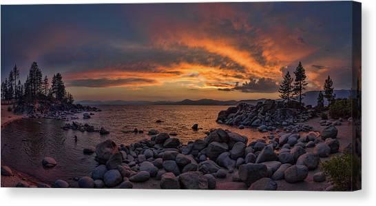 Sand Harbor Sunset Panorama Canvas Print