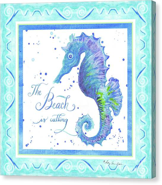 Royal Marines Canvas Print - Sand 'n Sea - Seahorse The Beach Is Calling by Audrey Jeanne Roberts