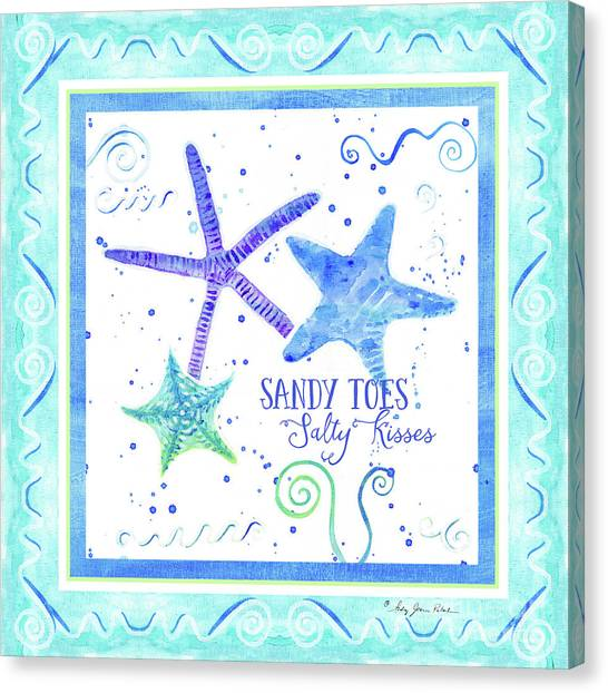 Toes Canvas Print - Sand 'n Sea Starfish Scrollwork Sandy Toes Salty Kisses by Audrey Jeanne Roberts