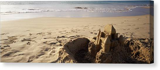 Sand Castles Canvas Print - Sandcastle On The Beach, Hapuna Beach by Panoramic Images