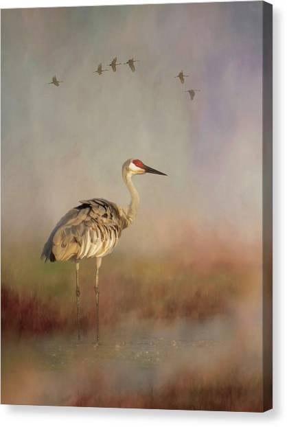Sandhill Crane - Painterly Vertical Canvas Print