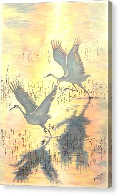 Sandhill Cranes Canvas Print by Dan Bozich