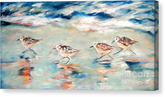 Sandpipers Running Canvas Print