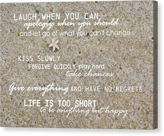 Canvas Print featuring the photograph Sands Of Happiness Quote by JAMART Photography