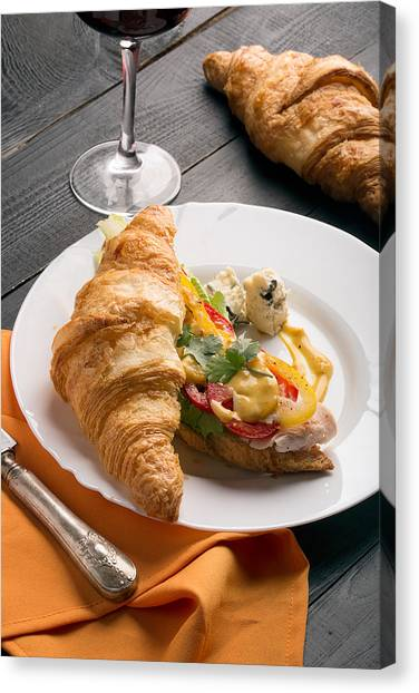 Mayonnaise Canvas Print - Sandwich Made From Croissant  by Vadim Goodwill