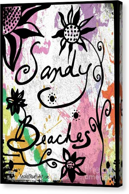 Canvas Print featuring the drawing Sandy Beaches by Rachel Maynard