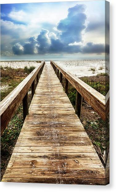 Canvas Print - Sandy Boardwalk On The Dunes by Debra and Dave Vanderlaan