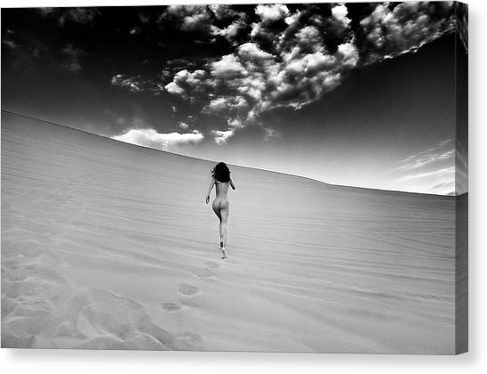 Sandy Dune Nude - Catching The Clouds Canvas Print