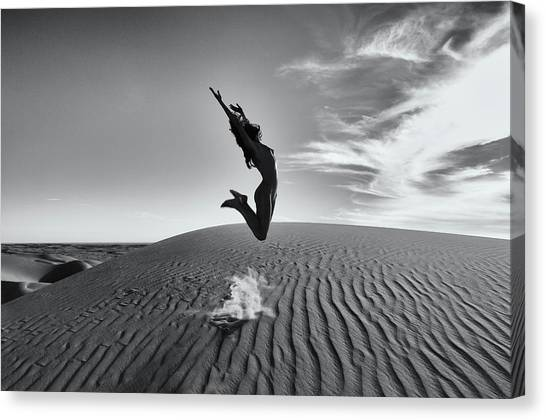 Sandy Dune Nude - The Jump Canvas Print