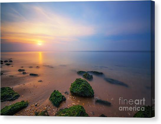 Low Tide Canvas Print - Sandy Hook New Jersey Sunset  by Michael Ver Sprill