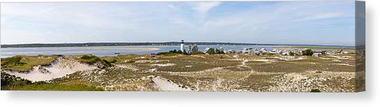 Sandy Neck Lighthouse With Fishing Boat Canvas Print