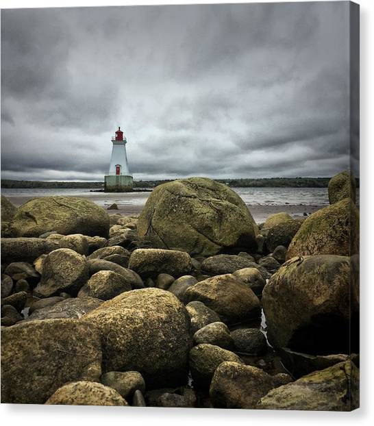 Nova Scotia Canvas Print - Sandy Point Lighthouse by Christine Sharp