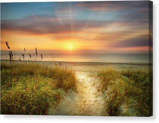 Ocean Sunrises Canvas Print - Sandy Walk At The Dunes Dreamscape by Debra and Dave Vanderlaan