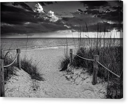 Sanibel Island Beach Access In Black And White Canvas Print