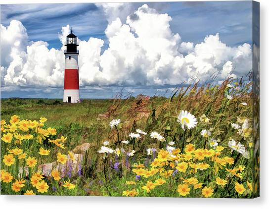 Canvas Print featuring the painting Sankaty Head Lighthouse by Christopher Arndt