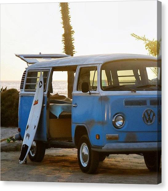 Palm Trees Sunsets Canvas Print - Vw And Surfboard by Hal Bowles