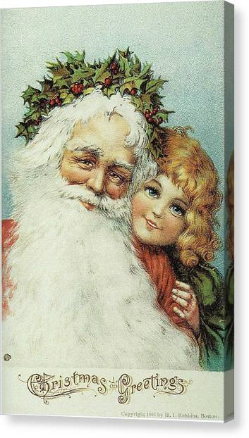 Santa And His Little Admirer Canvas Print