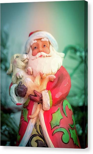 Santa And Lab Pup Canvas Print