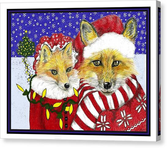 Santa And Ms Fox Canvas Print by Marla Saville