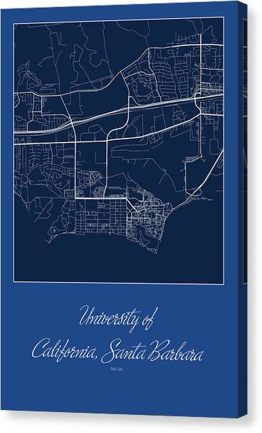 Ucsb Canvas Print - Santa Barbara Street Map - University Of California Santa Barbar by Jurq Studio