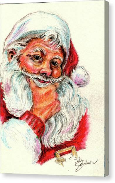 Santa Checking Twice Christmas Image Canvas Print