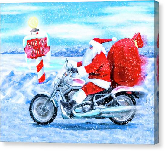 Santa Claus Canvas Print - Santa Claus Has A New Ride by Mark Tisdale