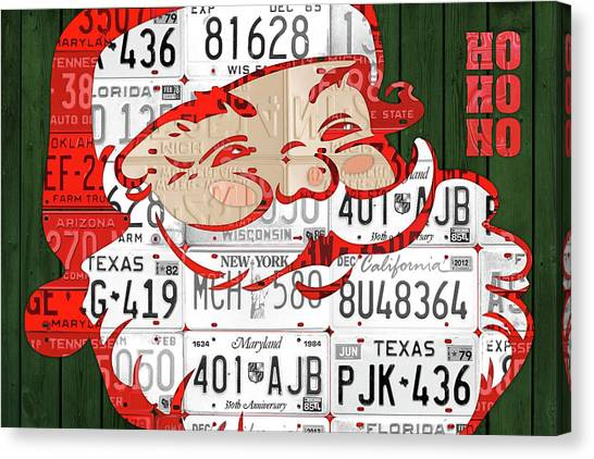 Santa Claus Canvas Print - Santa Claus Ho Ho Ho Recycled Vintage Colorful License Plate Art by Design Turnpike