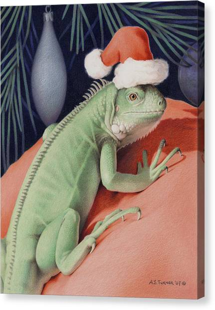 Iguanas Canvas Print - Santa Claws - Bob The Lizard by Amy S Turner