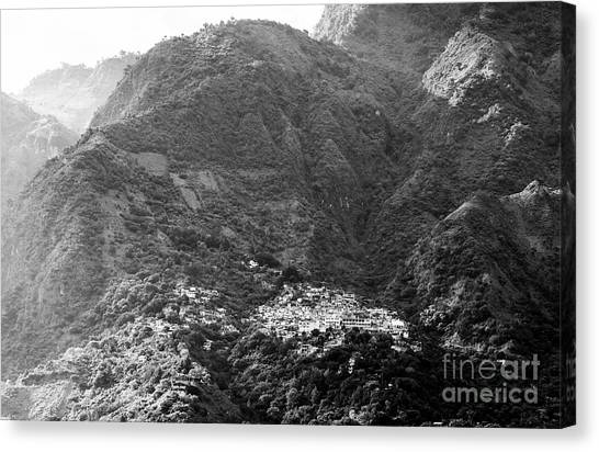Canvas Print featuring the photograph Santa Cruz Guatemala Black And White by Tim Hester
