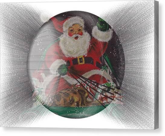 Santa Delivering Gifts Canvas Print