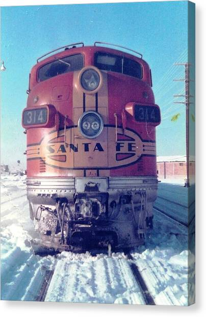 Santa Fe Locomotive At Gallup New Mexico Canvas Print