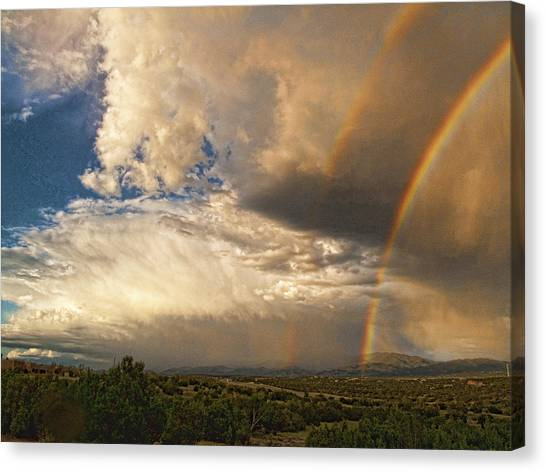 Santa Fe Summer Sky With Double Rainbow Canvas Print