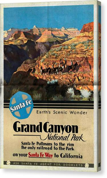 Santa Fe Train To Grand Canyon - Vintage Poster Folded Canvas Print