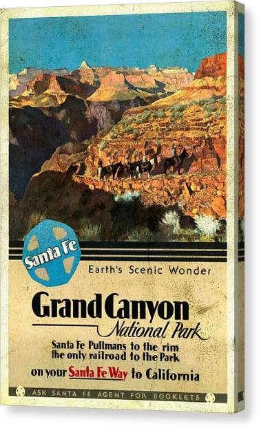 Santa Fe Train To Grand Canyon - Vintage Poster Vintagelized Canvas Print