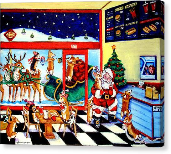 Fast Food Canvas Print - Santa Makes A Pit Stop by Lyn Cook