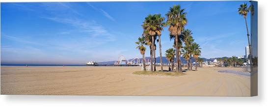 Santa Monica Pier Canvas Print - Santa Monica Beach Ca by Panoramic Images