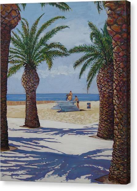 Santa Monica Beach  Canvas Print by Karen Doyle