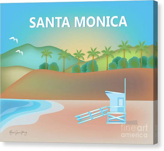 Santa Monica Canvas Print - Santa Monica California Horizontal Scene by Karen Young