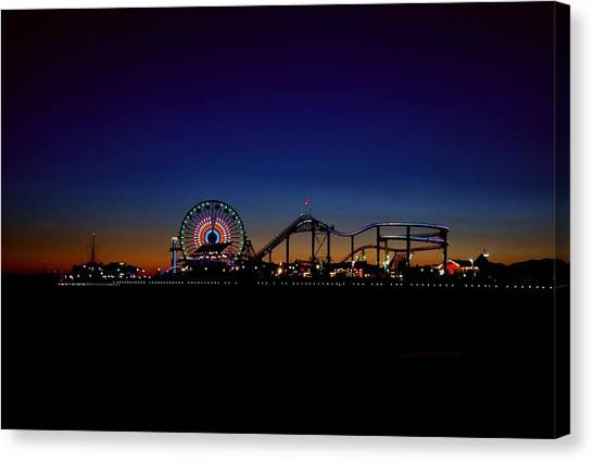 Santa Monica Pier Canvas Print - Santa Monica Pier At Twilight by Hal Bowles