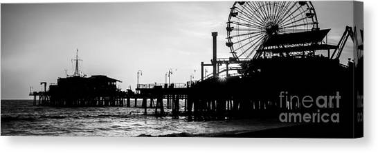 Santa Monica Pier Canvas Print - Santa Monica Pier Black And White Panoramic Picture by Paul Velgos